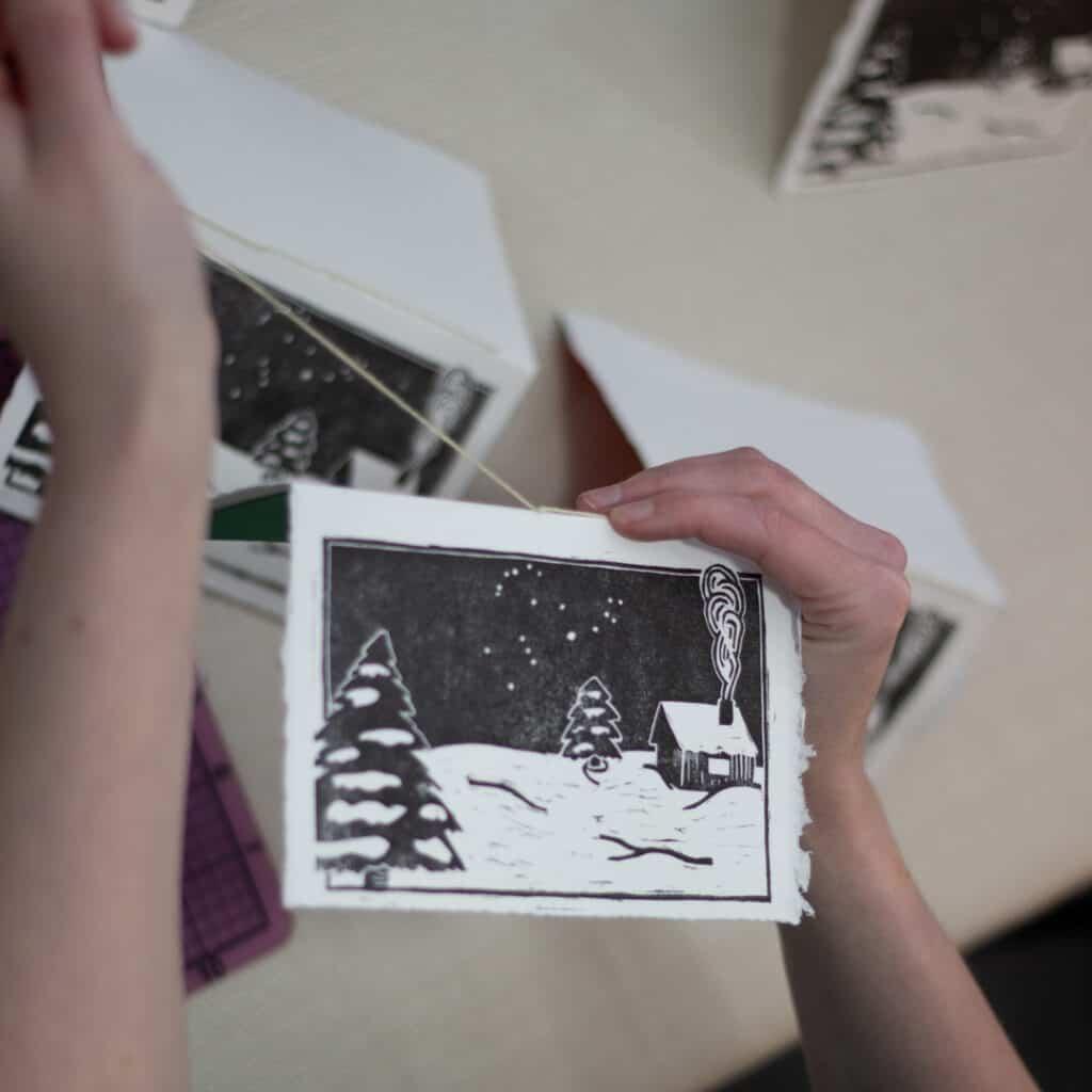 saddle stitching a holiday card