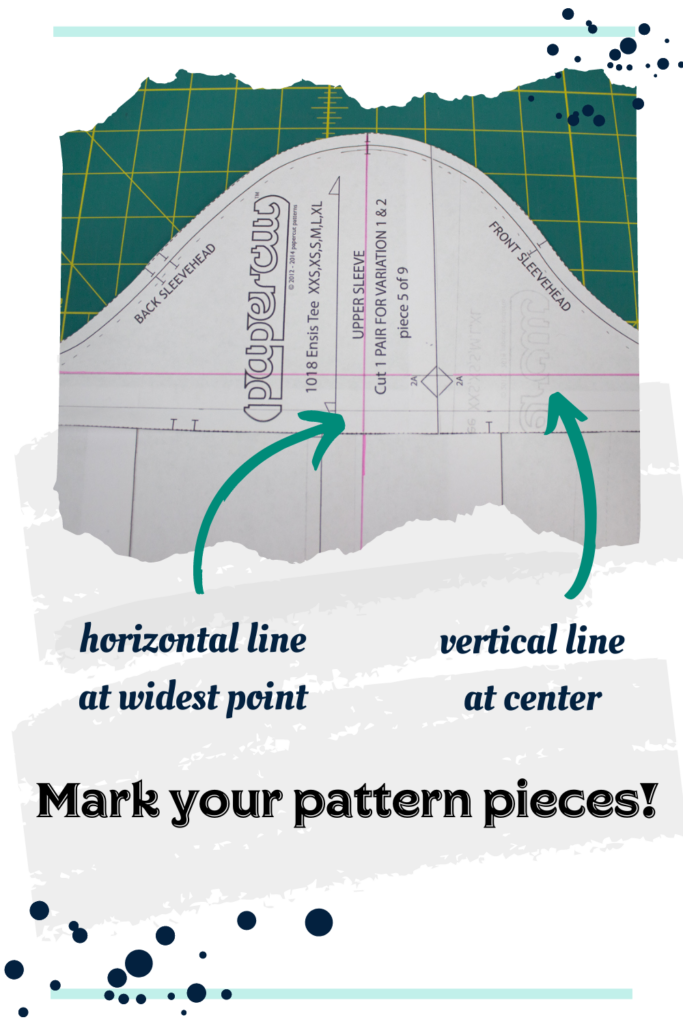 picture of a sleeve for a sewing pattern marked horizontally and vertically, ready to be altered.